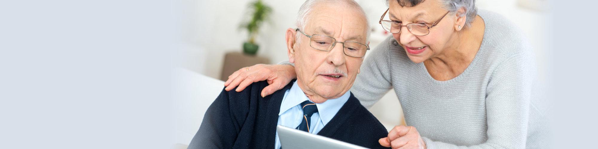 Romantic happy senior man and woman couple